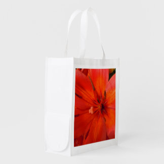 Fiery Orange & Red Lily II Reusable Grocery Bag