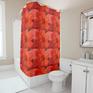 Fiery Orange & Red Lily II Shower Curtain