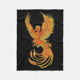 Fiery Phoenix on Black Fleece Blanket