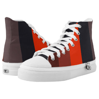 Fiery red & brown stripes design high tops