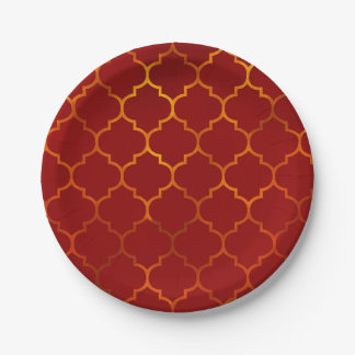 Fiery Red Gold Royal Indian Arabian Theme Moroccan Paper Plate