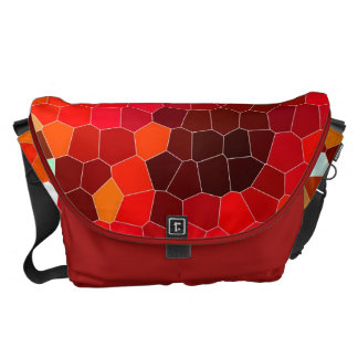 Fiery red stained glass messenger bag