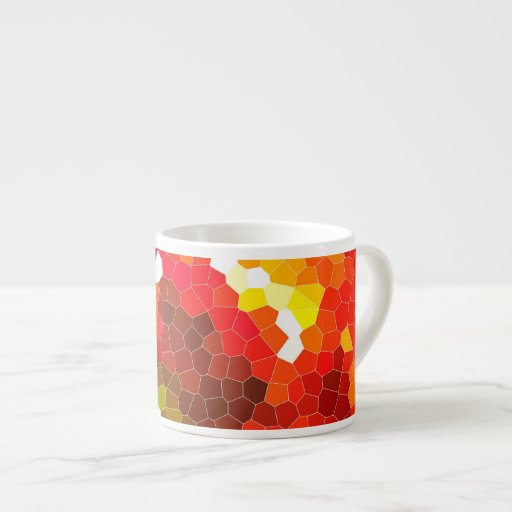 Fiery red stained glass espresso cups