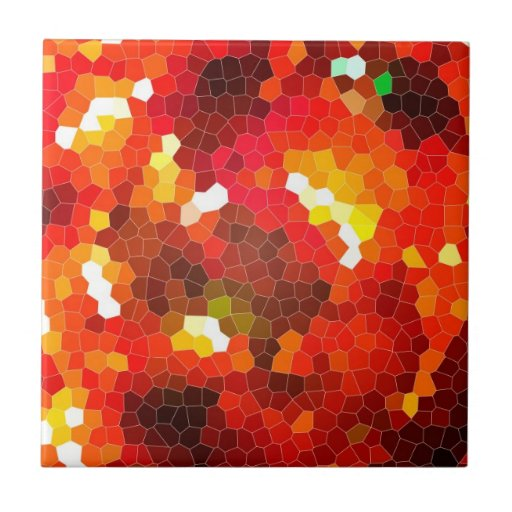 Fiery red stained glass tiles