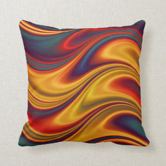 Fiery red yellow blue waves cushion