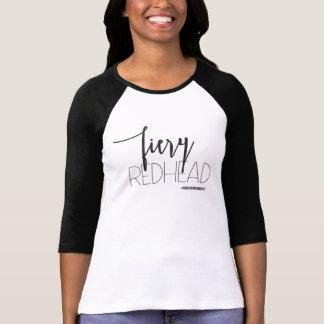 """FIERY REDHEAD"" Black & White Raglan T-Shirt"