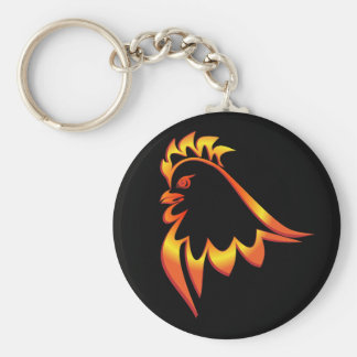 Fiery Rooster Basic Round Button Key Ring