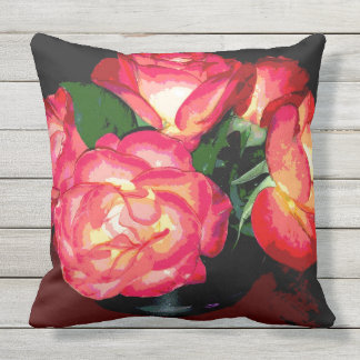 Fiery Roses Outdoor Cushion