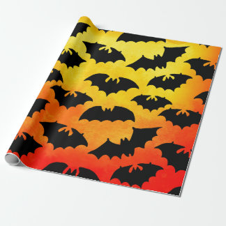 Fiery Sky Full of Bats Wrapping Paper