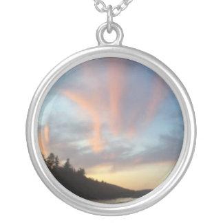 Fiery Sky Round Pendant Necklace