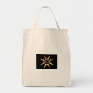 Fiery Starbust Fractal Art Grocery Tote Bag