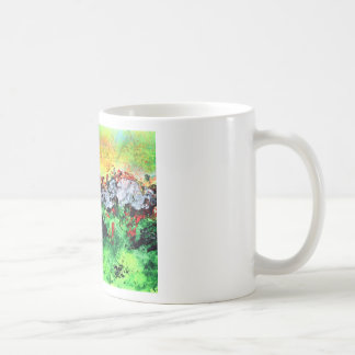 Fiery Sun over winter mountains Coffee Mug