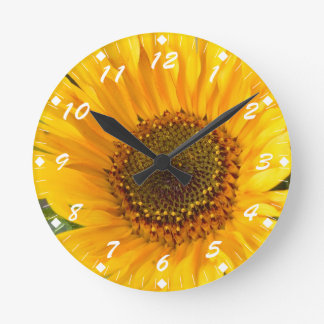 Fiery Sunflower Round Clock