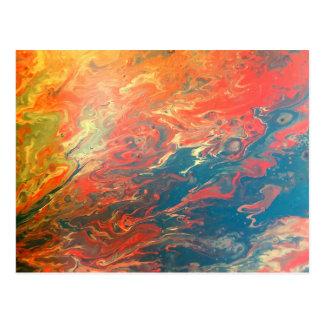 Fiery Sunset Abstract Postcard
