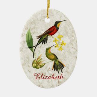 Fiery Topaz Hummingbirds Ceramic Ornament