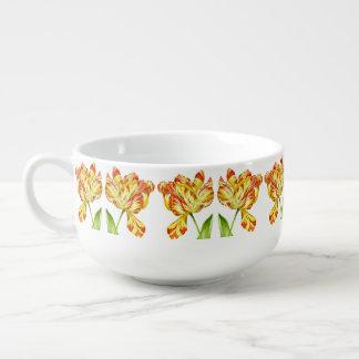Fiery Tulips on a Soup Mug