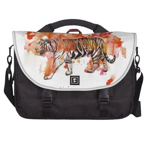 Fiery Watercolor Tiger Laptop Commuter Bag
