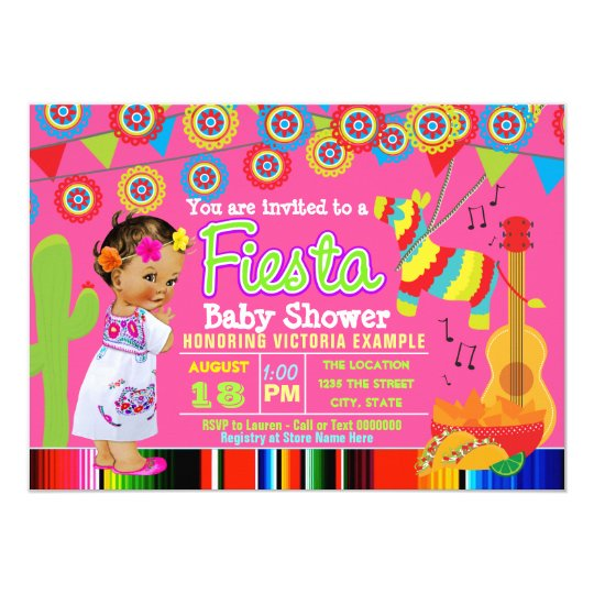 Fiesta Baby Shower Invitation with Baby Girl