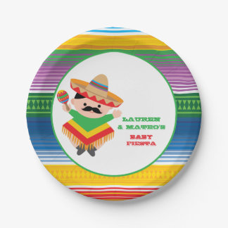 Fiesta Baby Shower Plates, Mexican Party Paper Plate