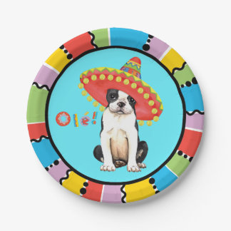 Fiesta Boston Terrier Paper Plate