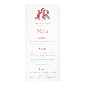 Fiesta | Contemporary Monogram Wedding Menu Custom Rack Card