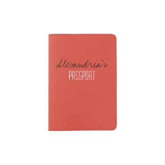 Fiesta Fiery Bright Red Solid Color Custom Passport Holder