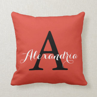 Fiesta Fiery Bright Red Solid Color Monogram Cushion