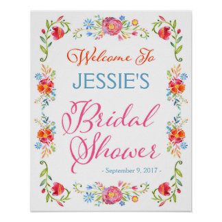 Fiesta Flower Bridal Shower Welcome Sign 16x20