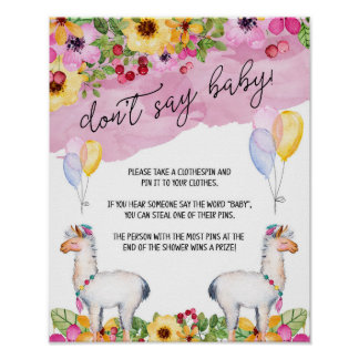 Fiesta Llama Don't Say Baby Shower Game Poster