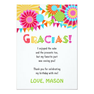Fiesta Mexican Birthday Party Thank You Card