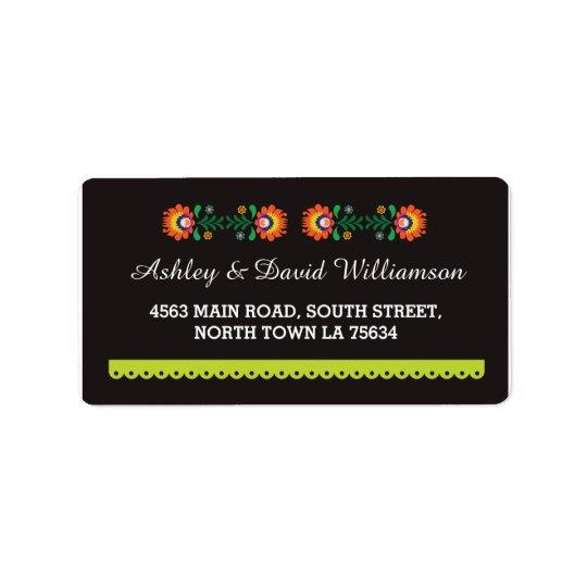 Fiesta Mexican Print Wedding Address Label