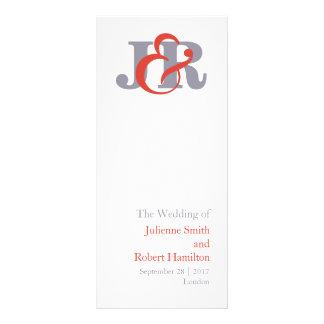 Fiesta | Modern Monogram Wedding Program Full Colour Rack Card