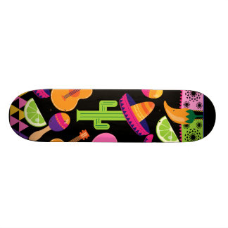 Fiesta Party Sombrero Cactus Limes Peppers Maracas 20 Cm Skateboard Deck