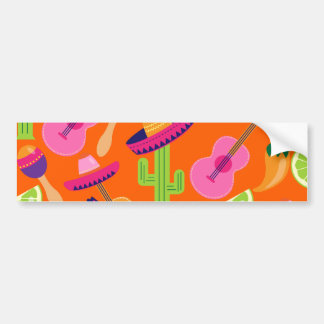 Fiesta Party Sombrero Cactus Limes Peppers Maracas Bumper Sticker