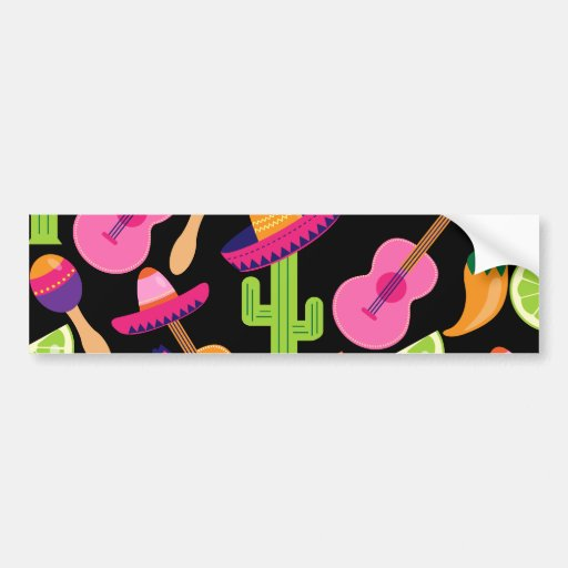 Fiesta Party Sombrero Cactus Limes Peppers Maracas Bumper Stickers
