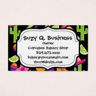 Fiesta Party Sombrero Cactus Limes Peppers Maracas Business Card
