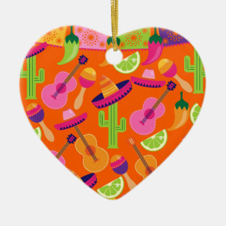 Fiesta Party Sombrero Cactus Limes Peppers Maracas Ceramic Heart Decoration