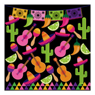 Fiesta Party Sombrero Cactus Limes Peppers Maracas Poster