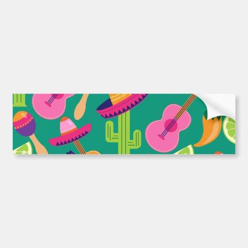 Fiesta Party Sombrero Limes Guitar Maraca Saguaro Bumper Sticker
