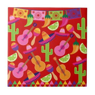 Fiesta Party Sombrero Limes Guitar Maraca Saguaro Tile