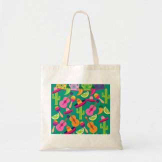 Fiesta Party Sombrero Limes Guitar Maraca Saguaro Tote Bag