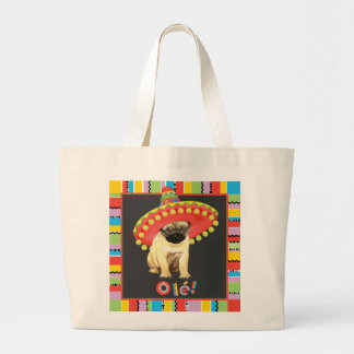 Fiesta Pug Large Tote Bag