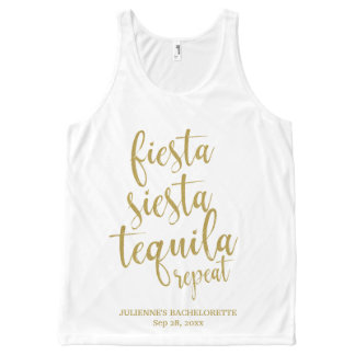 Fiesta Siesta Tequila Repeat Glitter Bachelorette All-Over Print Singlet