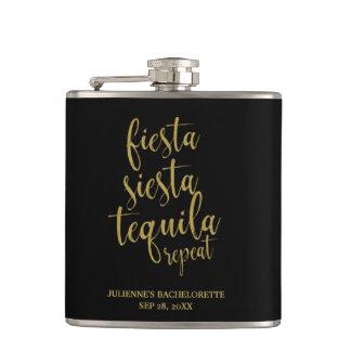 Fiesta Siesta Tequila Repeat Glitter Bachelorette Hip Flask