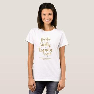 Fiesta Siesta Tequila Repeat Glitter Bachelorette T-Shirt