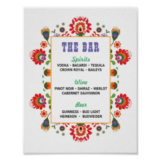 Fiesta Sign The Bar Party Event Engagement Shower Poster