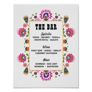 Fiesta Signs The Bar Party Event Wedding Party Poster