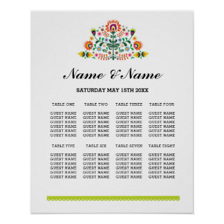 Fiesta Table Plan Wedding Day Poster 8 Seating