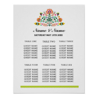 Fiesta Table Plan Wedding Day Poster Seating