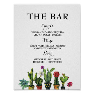 Fiesta The Bar Party Cactus Sign Engagement Shower Poster